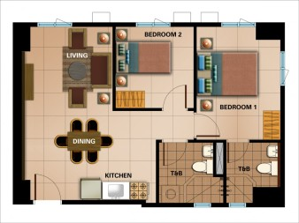 2-Bedroom Unit Approx. 58.21 sqm.