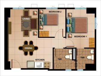 2-Bedroom Unit Approx. 58.21 sqm.